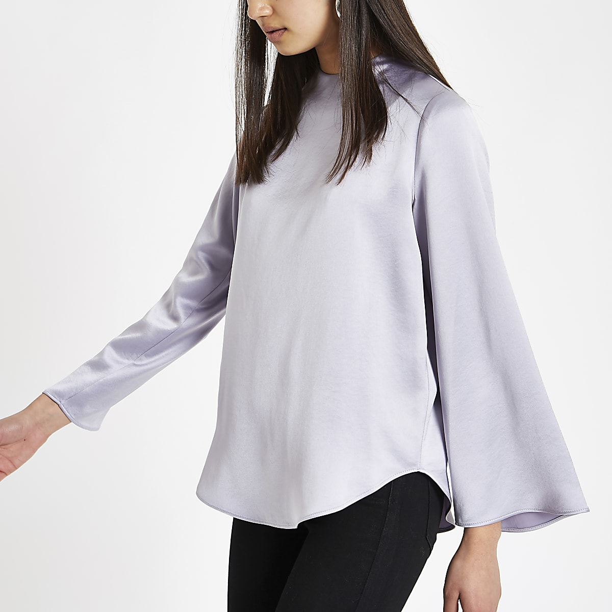 Purple satin long sleeve top