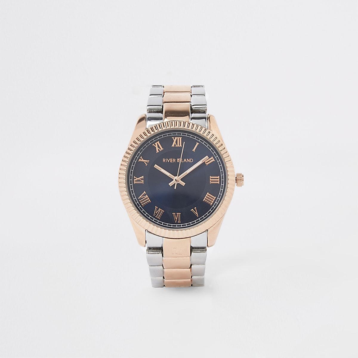 Montre avec bracelet or rose et argenté
