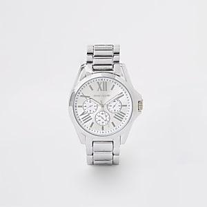 Silver colour 3 dials bracelet watch