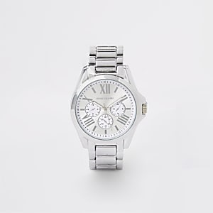 Silberfarbene Armbanduhr mit 3 Rädern