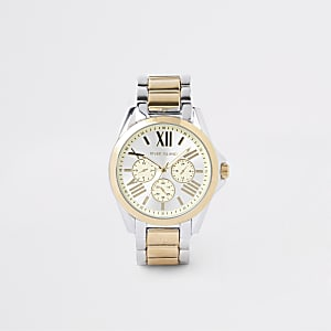 Montre-bracelet argentée et dorée