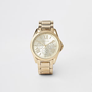 Gold color 3 dials bracelet watch
