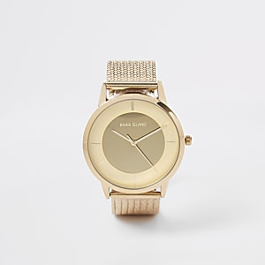 Montre dorée avec bracelet en maille