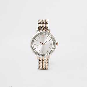 Triple metal rhinestone watch