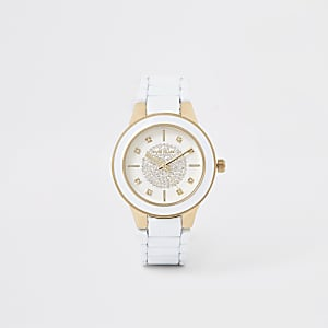 White diamante round face watch