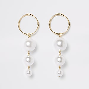 Gold color triple pearl drop earrings