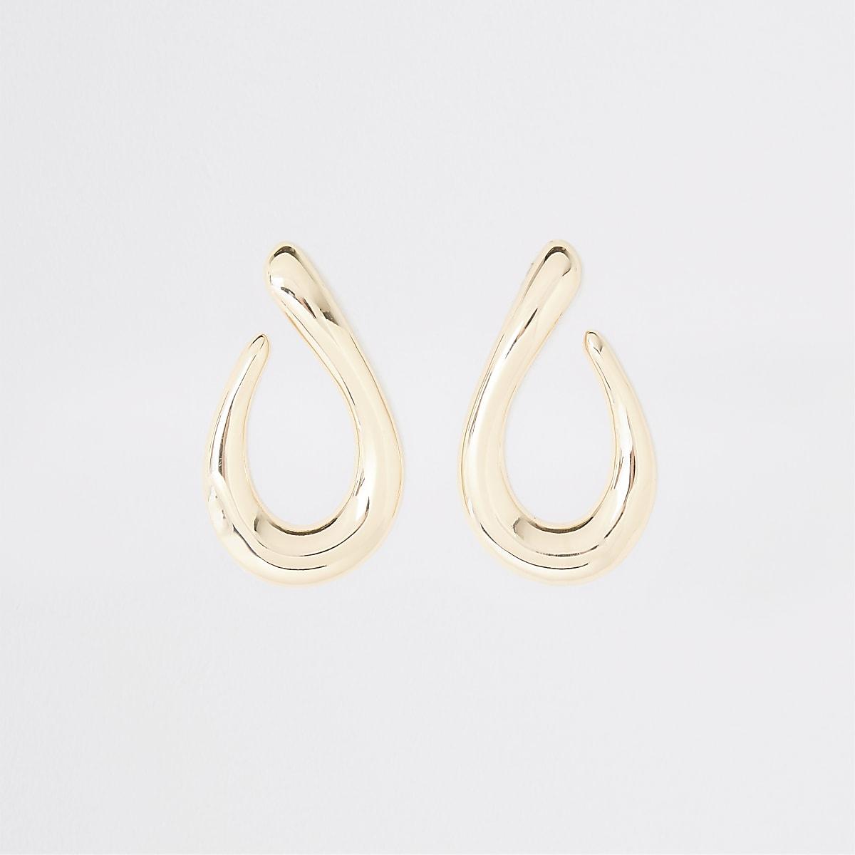 Gold color chunky tear drop earrings