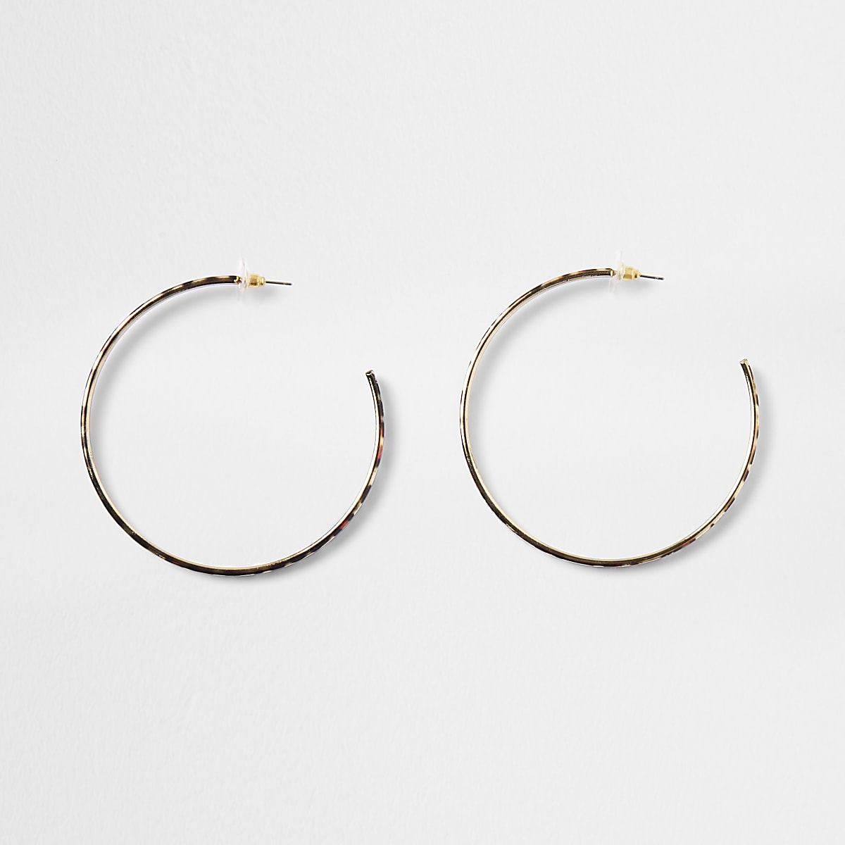 Gold colour  leopard print hoop earrings