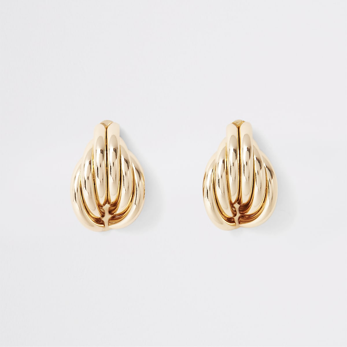 Gold color folded shell stud earrings