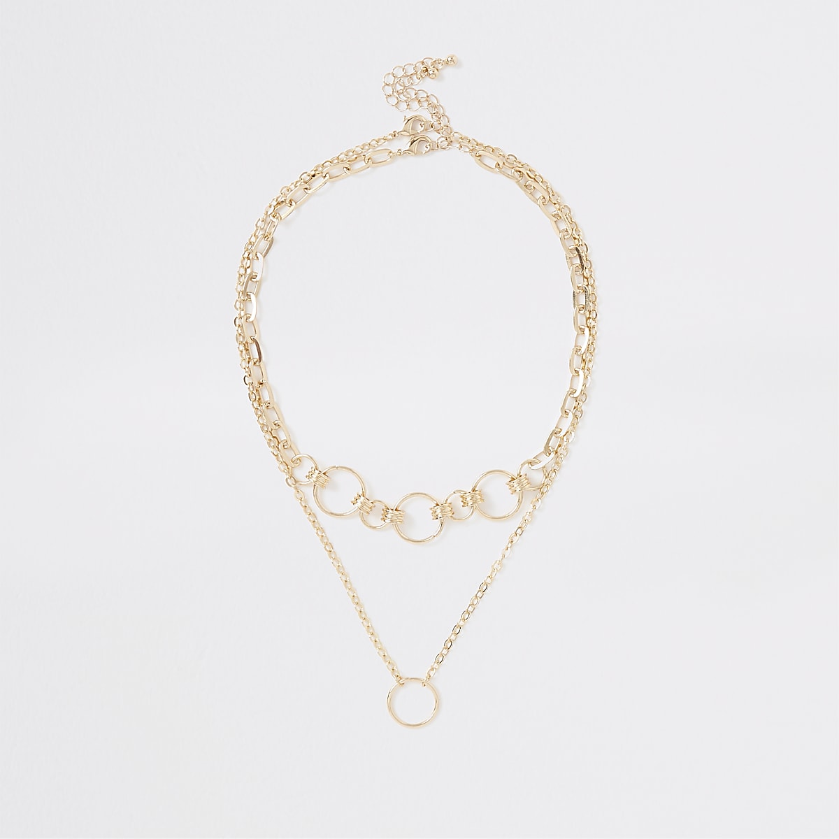 Gold color circle link necklace multipack