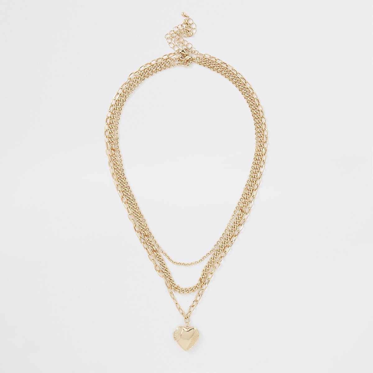 Gold color heart pendant necklace multipack