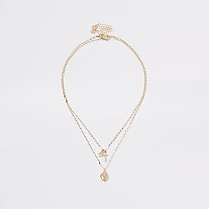 Goldfarbene, mehrreihige Halskette mit Anhänger