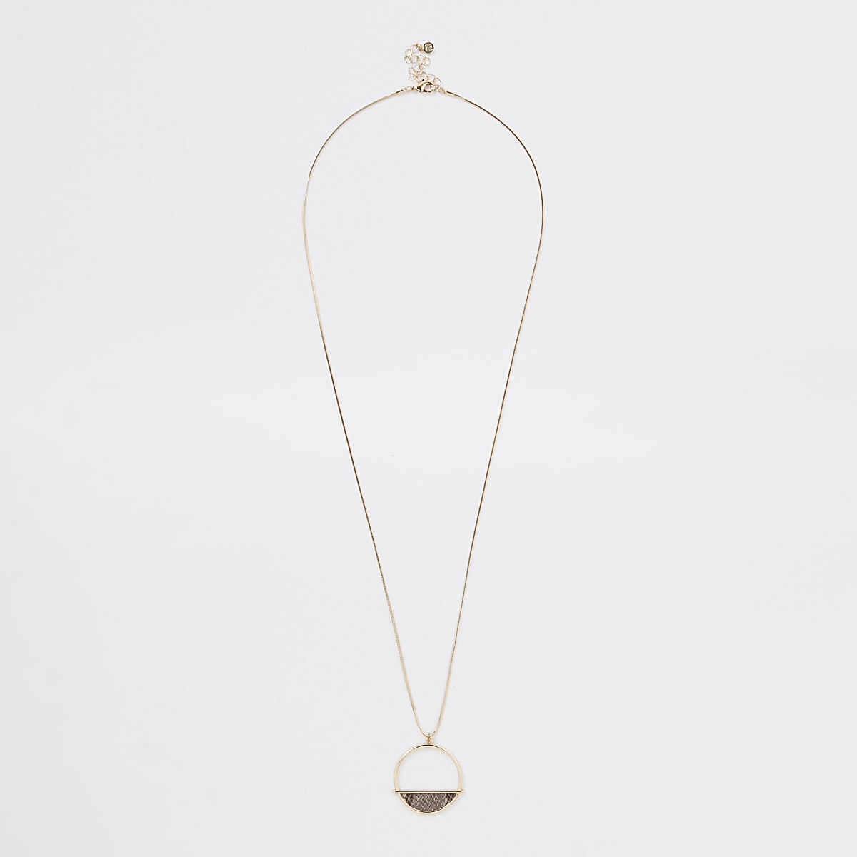 Gold colour snake chain long pendant necklace