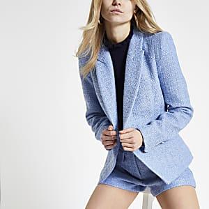 Lichtblauwe bouclé cropped blazer