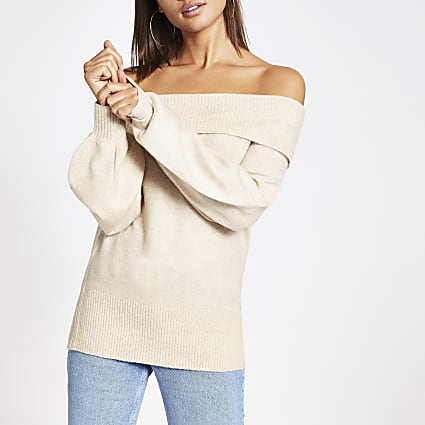 Beige bardot long sleeve knitted jumper