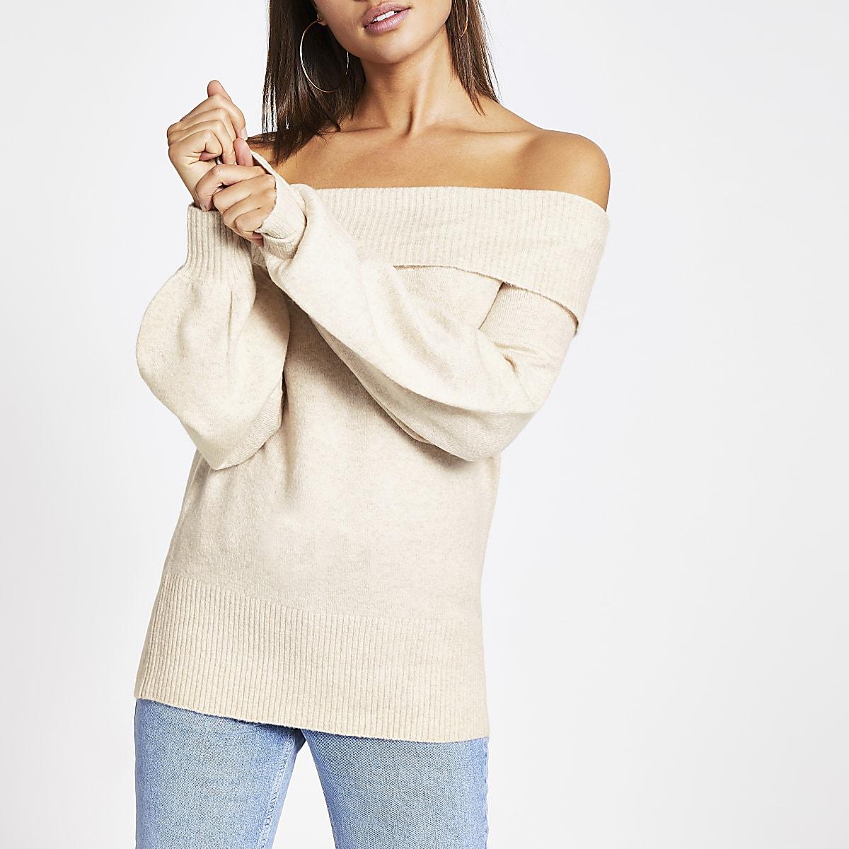 Beige bardot long sleeve knitted jumper