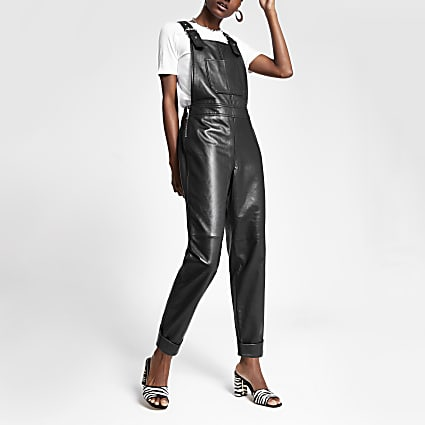 Black leather dungarees