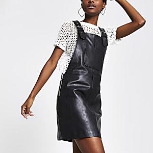 Schwarzes Trägerkleid aus Leder