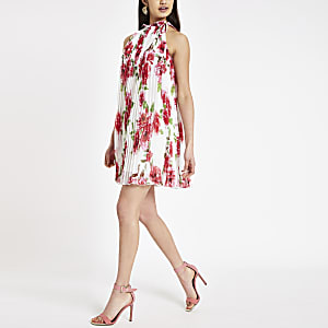 Pink floral high neck pleated swing dress