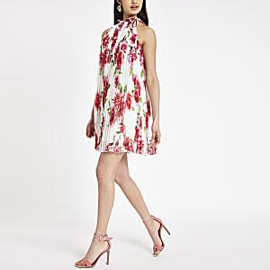 Robe trapèze à fleurs rose plissée à encolure haute