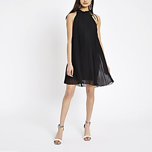 Black pleated halter neck swing dress