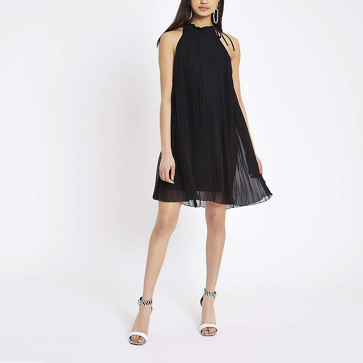 Trapèze Robes Dos Plissée Femme À Nu Robe Évasée Noire D29IEWH