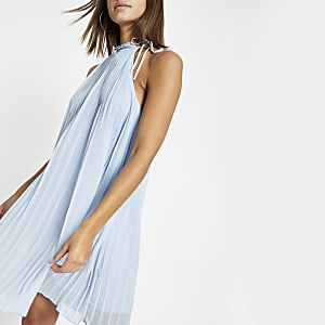 Blue pleated halter neck swing dress