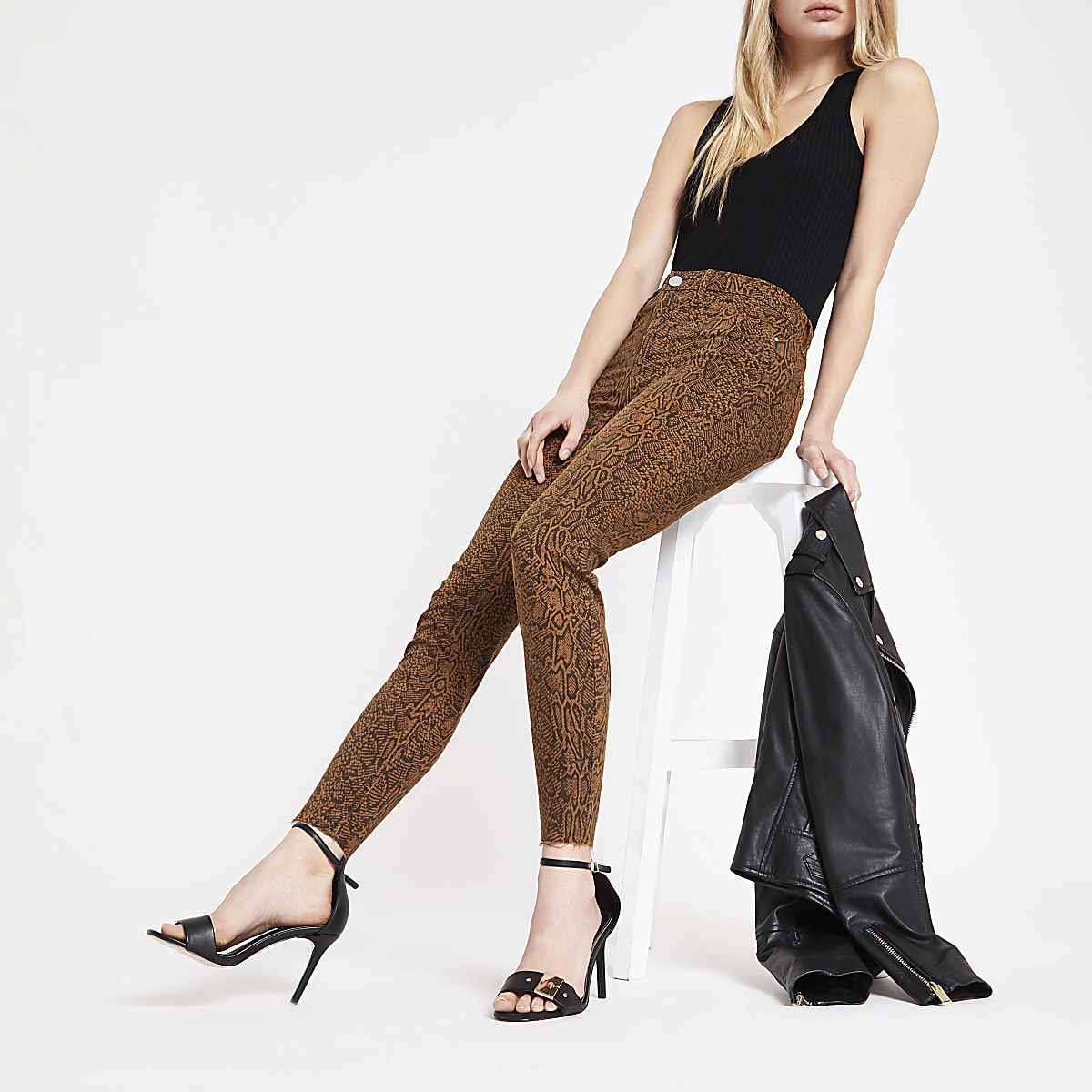 Molly – Jegging imprimé serpent marron