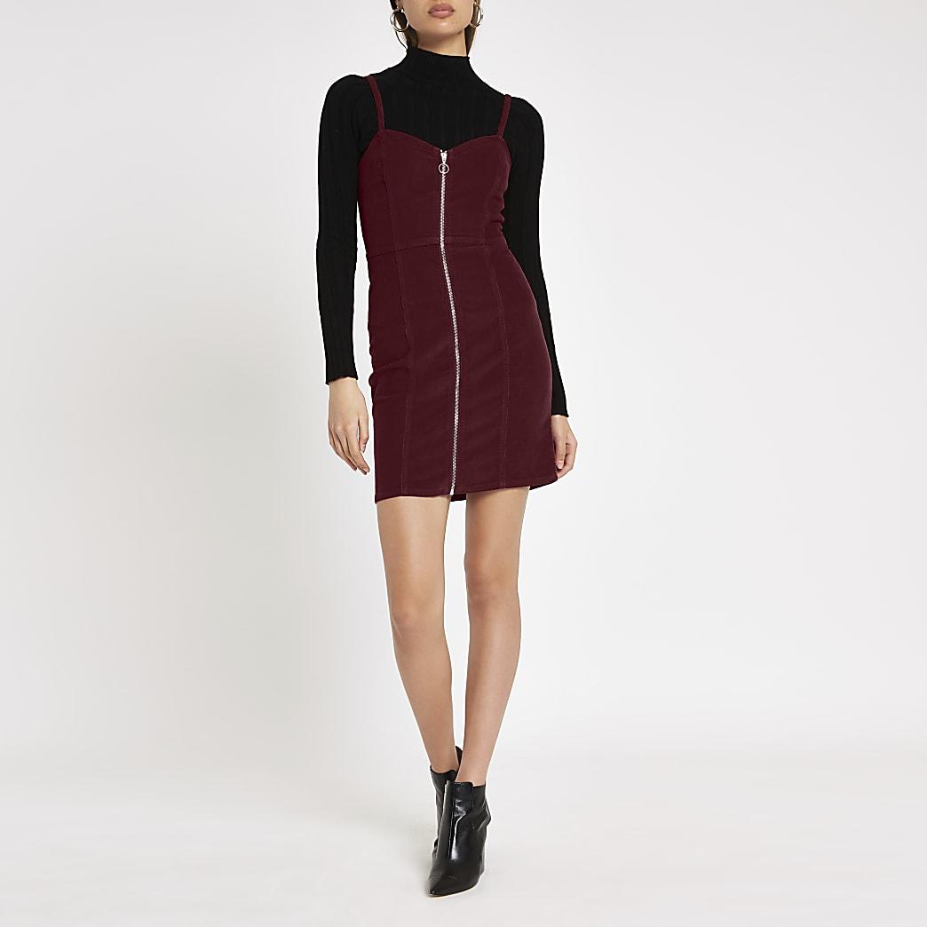 Burgundy cord zip up pinafore dress
