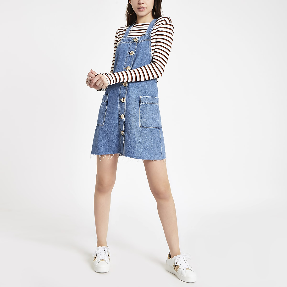 Mid blue denim pinafore dungaree dress