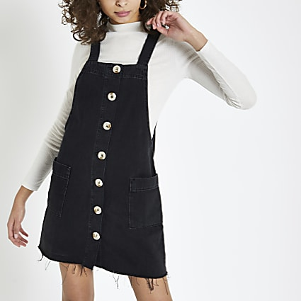 Black denim dungaree dress
