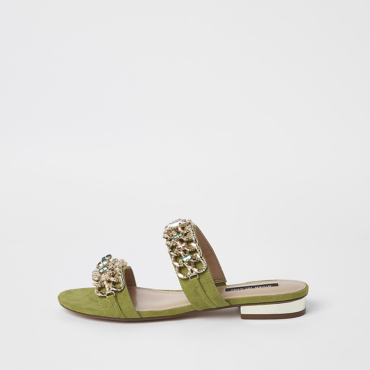 Green gold chain embellished mules