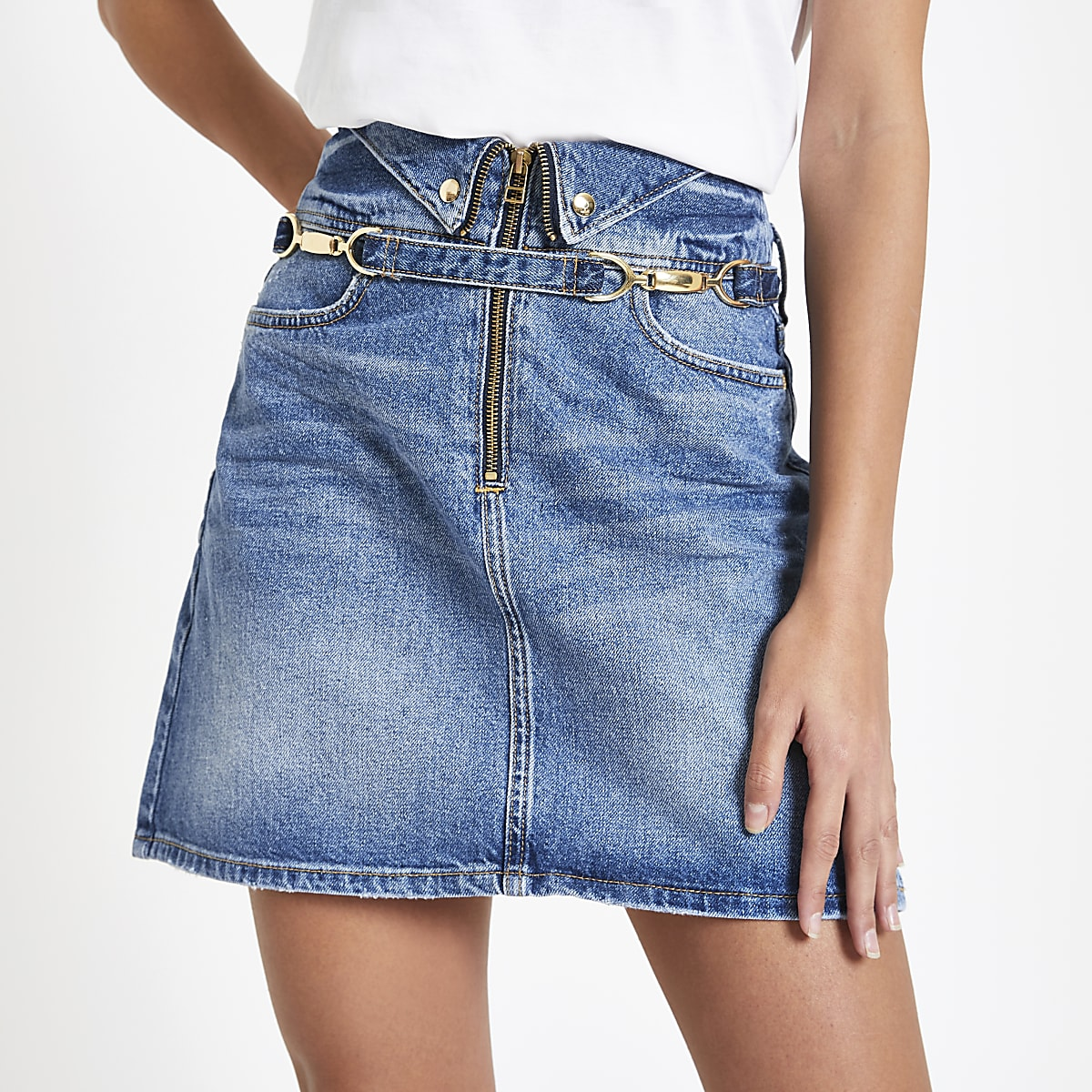 Mid blue snaffle trim denim skirt