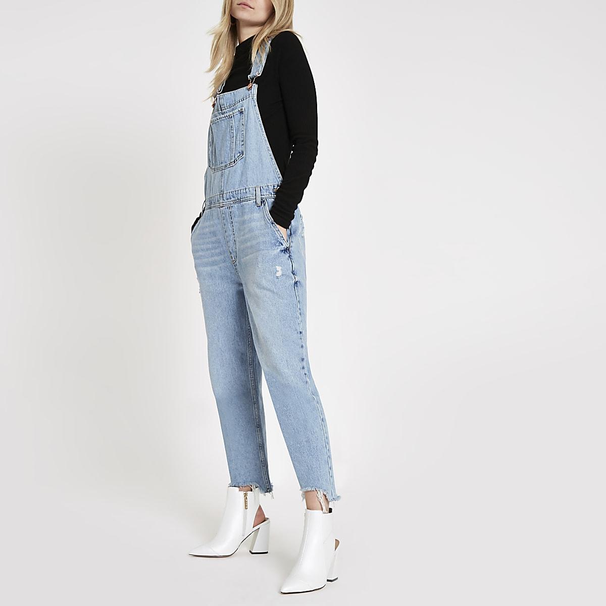 Light blue denim overalls