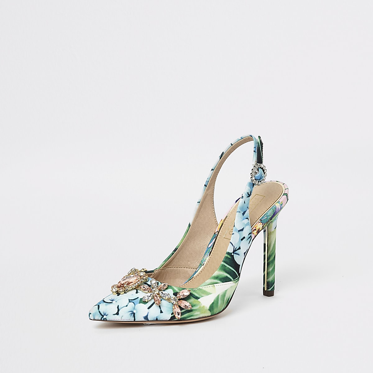 a5f8c2712ad Green floral slingback court shoes - Shoes - Shoes   Boots - women