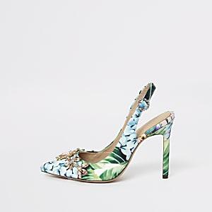 Escarpins verts à fleurs et bride arrière