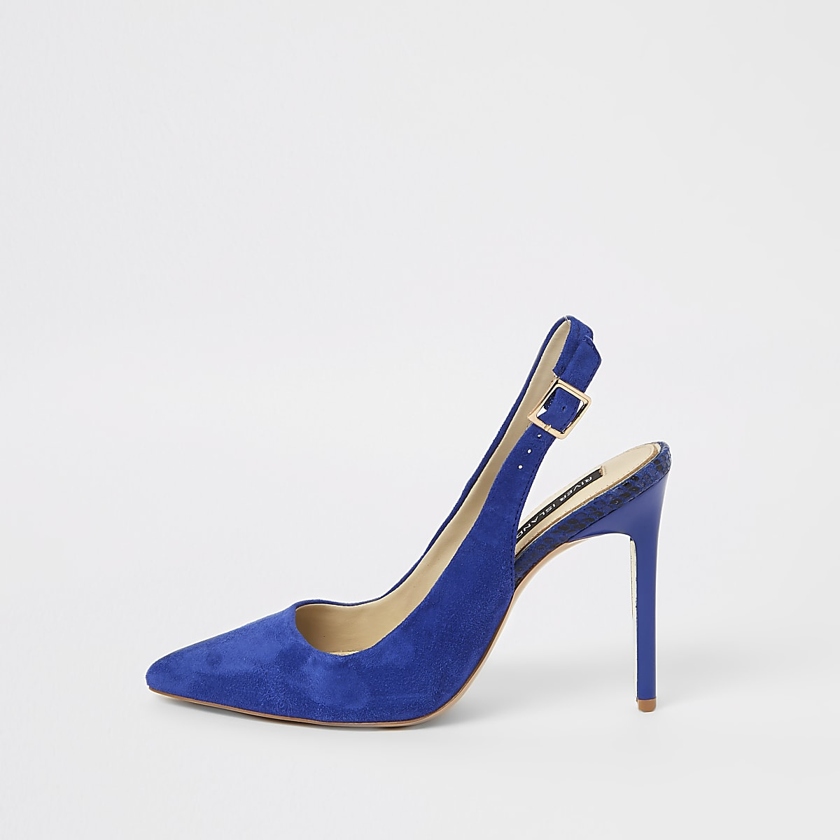 Blue pointed toe slingback court shoes