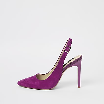 Pink pointed toe slingback court shoes