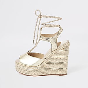 22c89a20765f Gold metallic rope tie-up espadrille wedges