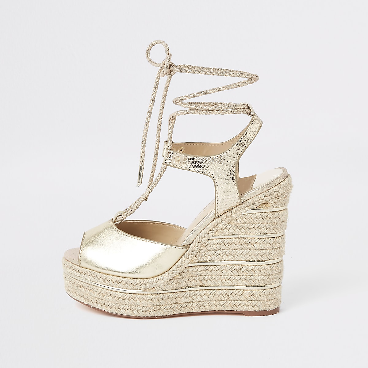 Gold metallic rope tie-up espadrille wedges