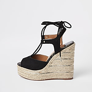 Black tie-up espadrille wedges