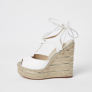 White tie up espadrille wedges
