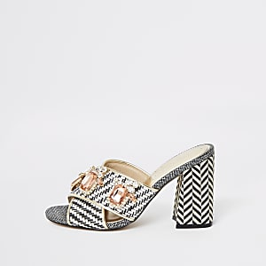 Black print jewel embellished heel mules