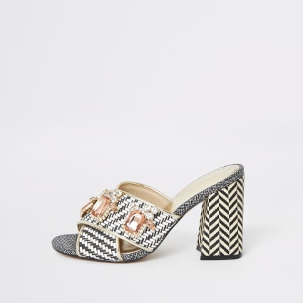 Black print jewel embellished heel mules