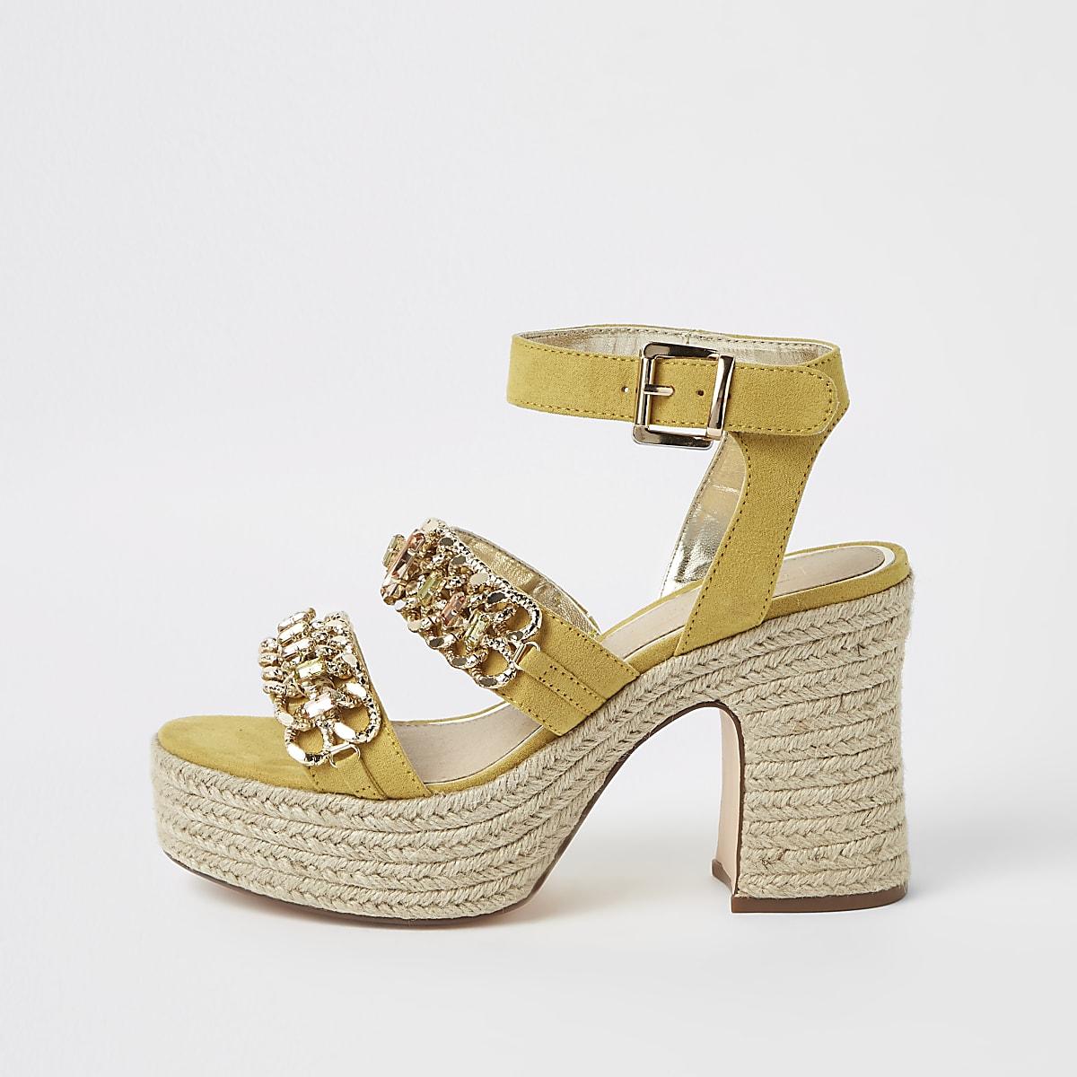 Yellow chain espadrille block heel sandals