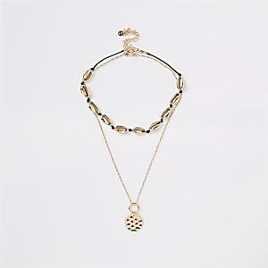 Gold colour shell necklace multipack