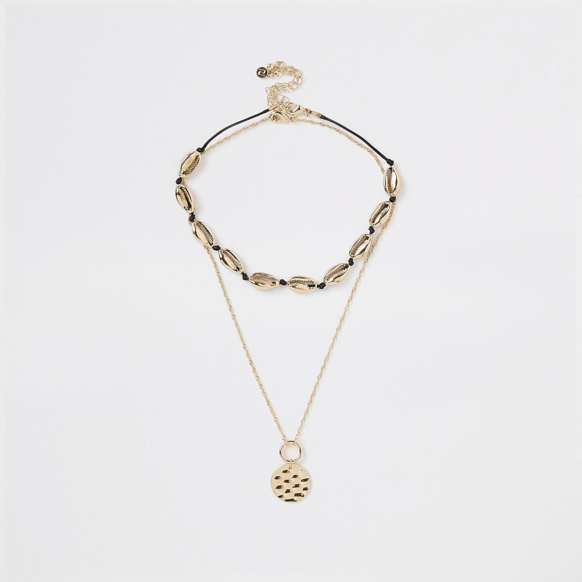 Gold color shell necklace multipack