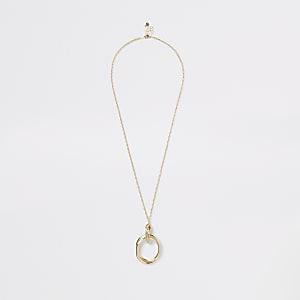 Gold colour long circle pendant necklace