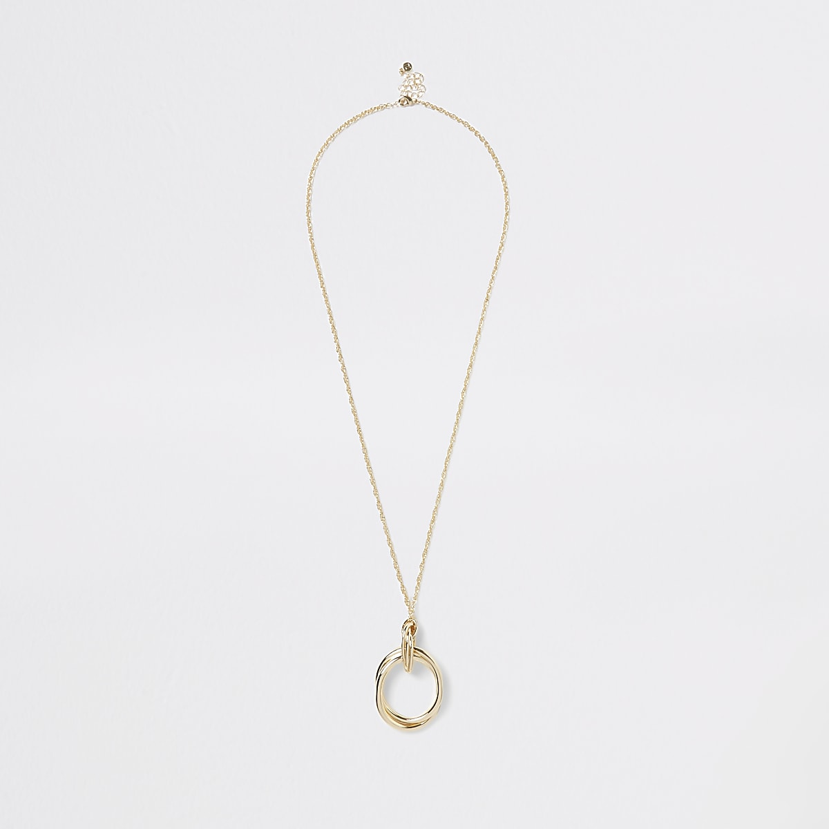 Gold colour long circle pendant necklace
