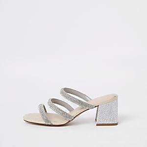 Silver rhinestone embellished block heel mules